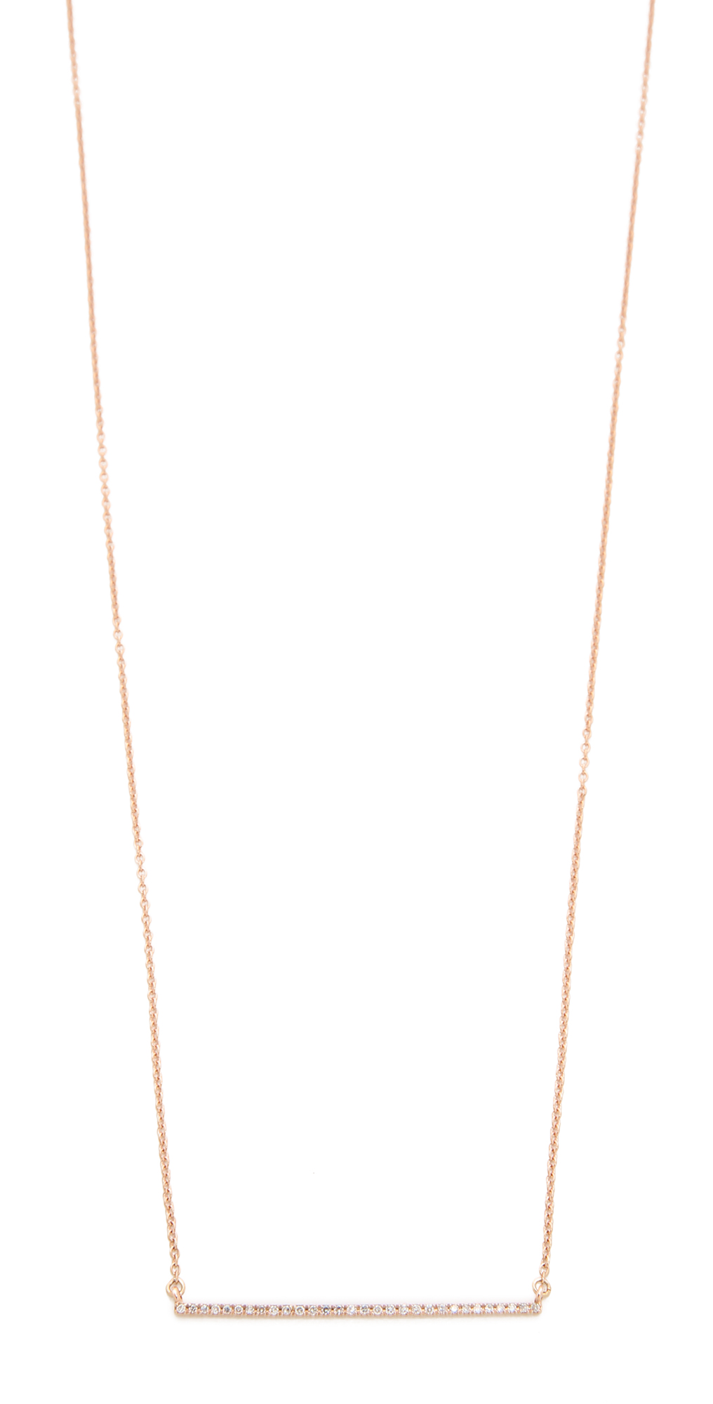 14k Rose Gold Bar Diamond Necklace Gabriela Artigas