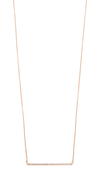 Gabriela Artigas 14k Rose Gold Bar Diamond Necklace