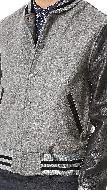 Golden Bear Grey Melton Varsity Jacket