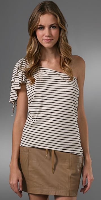Geren Ford One Shoulder Striped Ruffle Tee