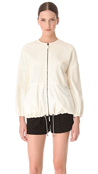 Giambattista Valli White Leather Windbreaker
