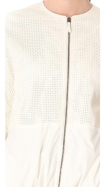 Giambattista Valli White Leather Windbreaker