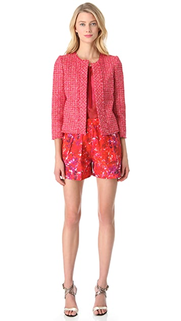 Giambattista Valli Red Tweed Cardigan Jacket