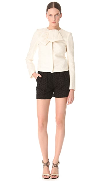 Giambattista Valli White Tweed Collar Bow Jacket