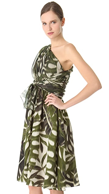 Giambattista Valli One Shoulder Silk Dress