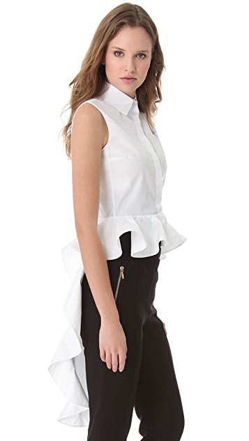 Giambattista Valli Ruffle Train Poplin Blouse