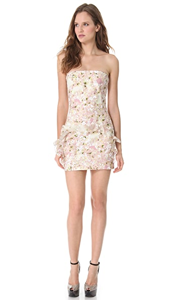 Giambattista Valli Ruffle Frame Strapless Dress