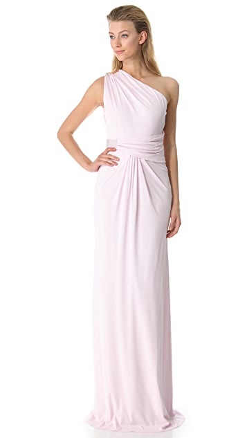 Giambattista Valli One Shoulder Gathered Gown