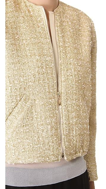 Giambattista Valli Gold Tweed Warm Up Jacket