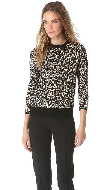 Giambattista Valli Leopard Bow Neck Sweater