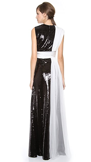 Giambattista Valli Two Tone Paillettes Gown