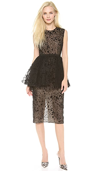 Giambattista Valli Flocked Peplum Dress