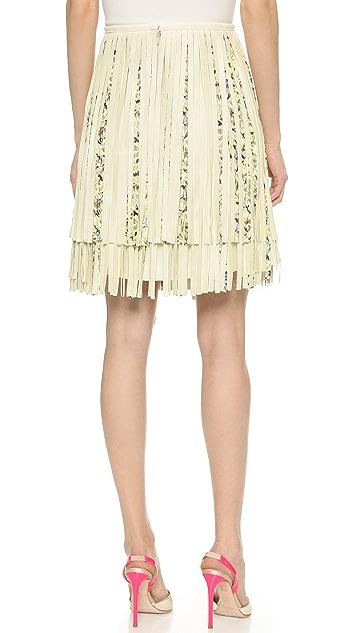 Giambattista Valli Fringed Leather Skirt