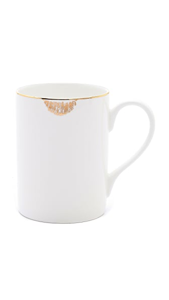 Chic gold lip tease bone china mug