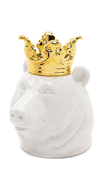 Gift Boutique Crowned Bear Head Container