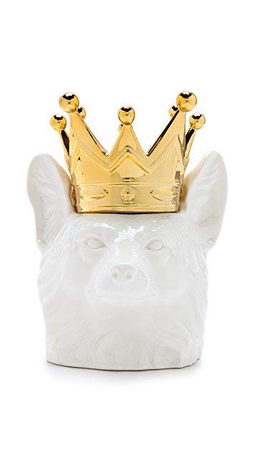 Gift Boutique Crowned Fox Head Container