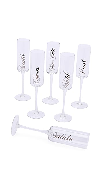 Gift Boutique 6 Assorted Toasting Flutes