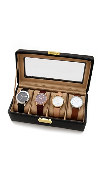 Gift Boutique Genuine Leather 4 Watch Case - Black