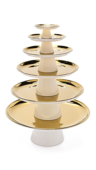 Gift Boutique Pedestal Dessert Tower - White/Gold