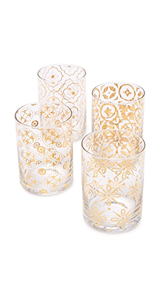 Gift Boutique Kashmir Glass Set - Clear/Gold