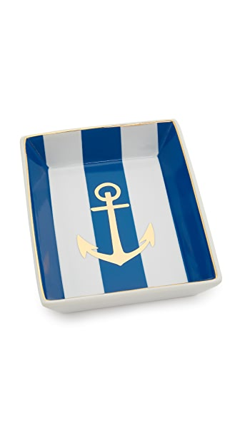 Gift Boutique Anchor Tray In Blue/White/Gold