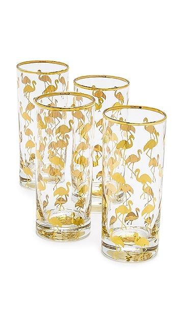 Gift Boutique Set of 4 Flamingo Highball Glasses