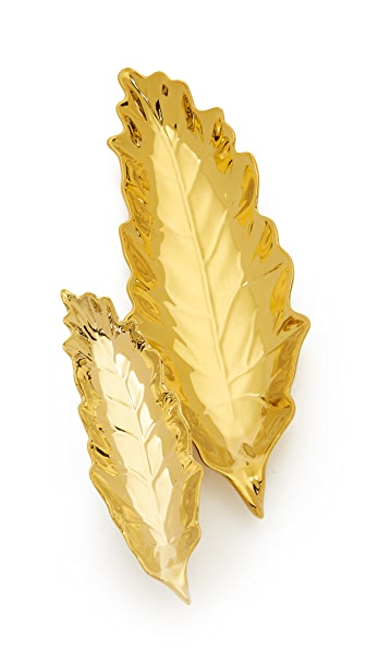 Gift Boutique Gold Leaves Tray Set - Gold