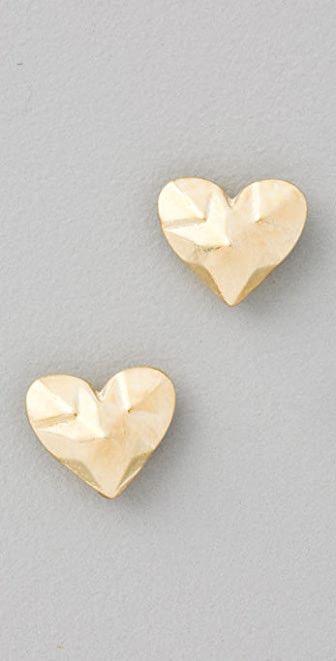 Giles & Brother Faceted Heart Stud Earrings