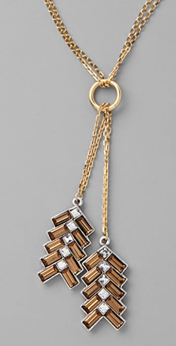 Giles & Brother Long Chevron Feather Pendant Necklace