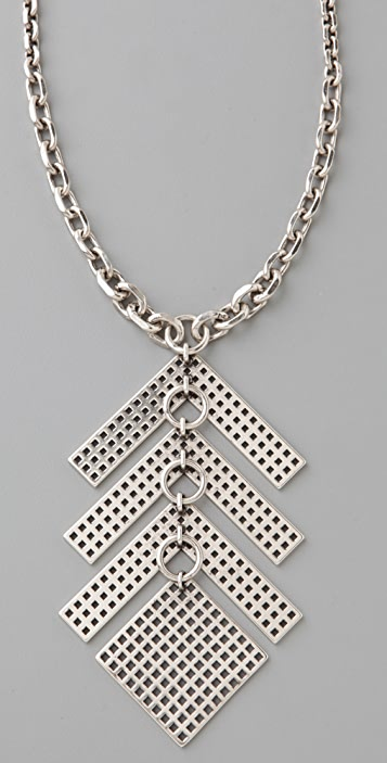 Giles & Brother Graph Link Silver Oxide Pendant Necklace