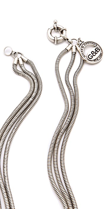 Giles & Brother Long Multi-Chain Archer Necklace with Pave