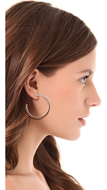 Giles & Brother Pave Pyramid Hoop Earrings