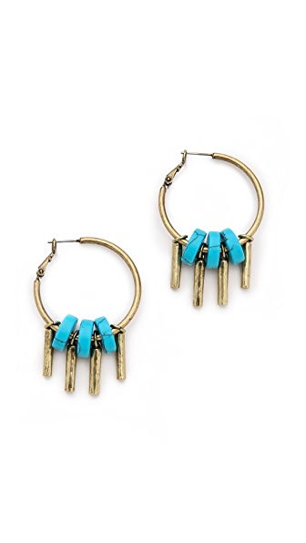 Giles & Brother Stone Drum Fringe Hoop Earrings