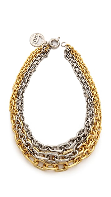 Giles & Brother Two Tone Crystal Encrusted Link Necklace