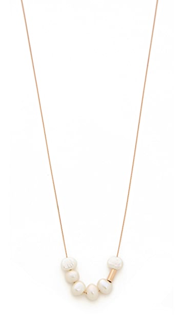 ginette_ny 18k Gold Tube Bead Necklace with Cultured Freshwater Pearls