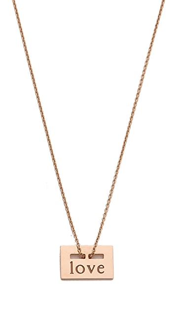 ginette_ny 18k Rose Gold Mini Love Plate Necklace