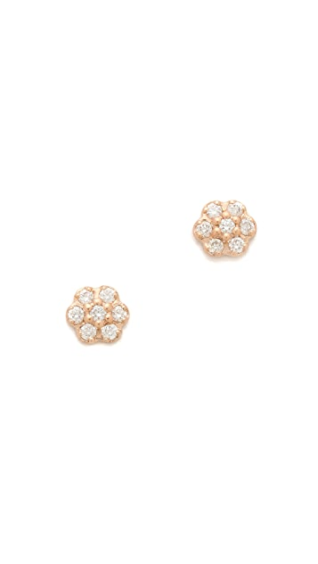 ginette_ny Mini Diamond Lotus Stud Earrings