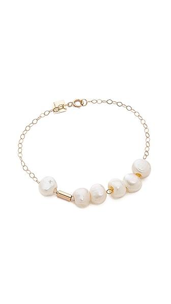 ginette_ny Cultured Freshwater Pearl & Tube Bracelet