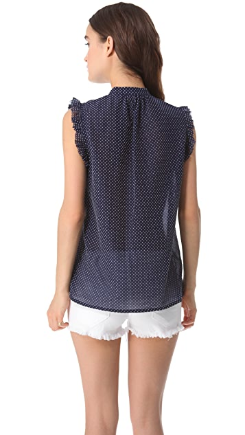 Girl. by Band of Outsiders Flocked Swiss Dot Blouse