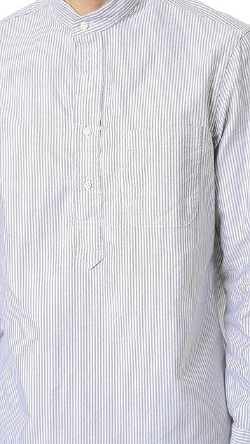 Gitman Vintage Band Collar Striped Oxford Popover