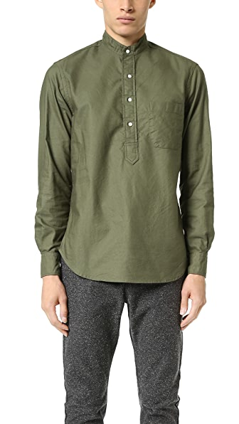 Gitman Vintage Band Collar Overdye Oxford Popover