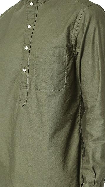 Gitman Vintage Band Collar Overdye Oxford Popover