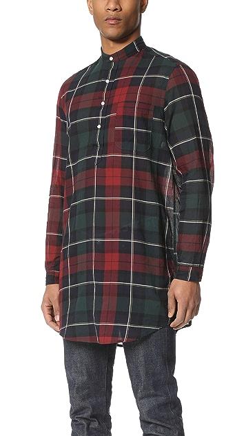 Gitman Vintage Redcheck Japanese Voile Long Shirt