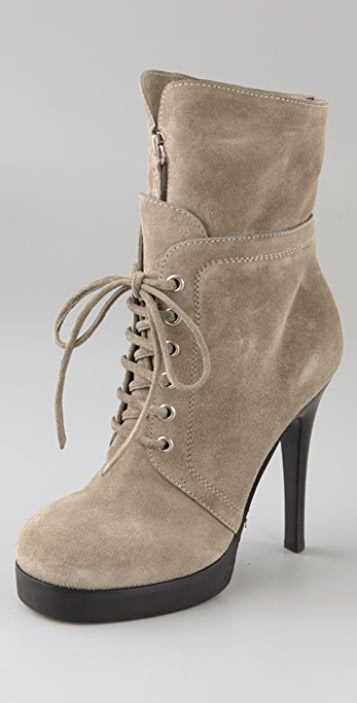 Giuseppe Zanotti Lace Up Suede Booties on Platform