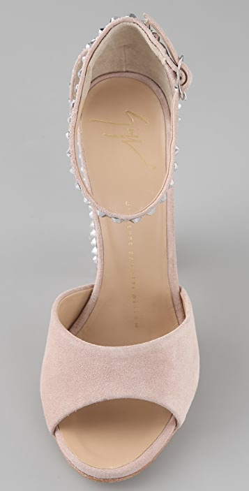 Giuseppe Zanotti Suede Ankle Strap Sandals with Crystals