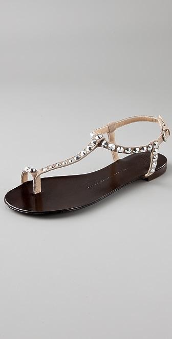 Giuseppe Zanotti Stone Suede Toe Ring Flat Sandals