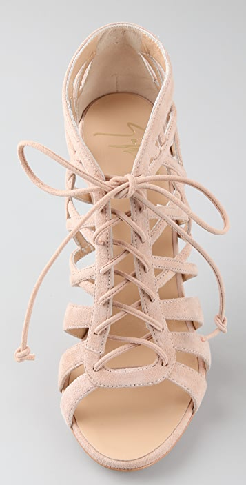 Giuseppe Zanotti Suede Lace Up Caged Booties