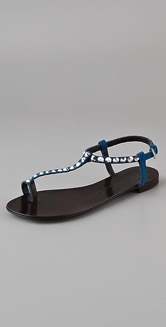 Giuseppe Zanotti T Strap Jet Flat Sandals