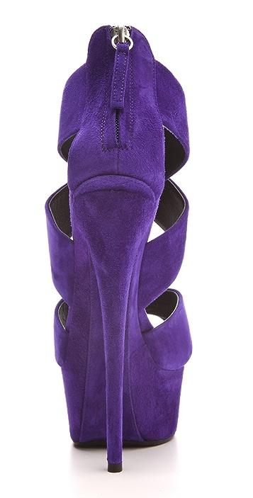 Giuseppe Zanotti Crisscross Suede Platform Sandals