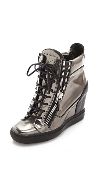 Giuseppe Zanotti Metallic Wedge Sneakers